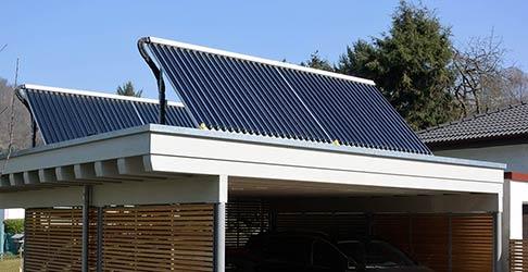 Solarwärme Anlage auf Carport